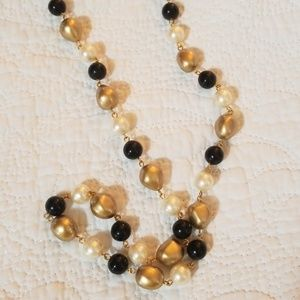 Jewelry - Vintage NOS Gold Black Pearl Bead Necklace
